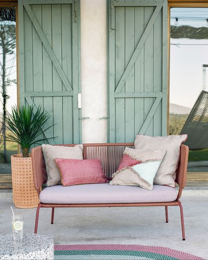Nadin two-seater sofa with terracotta rope and galvanised steel