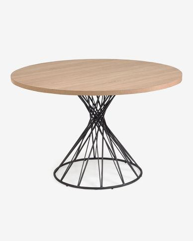 Niut runder Tisch aus Melamin natur und mit schwarzen Stahlbeinen Ø 120 cm
