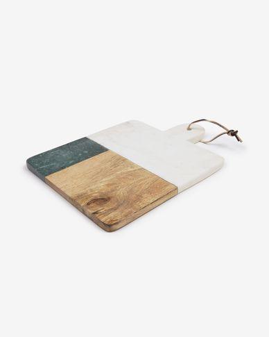 Deska do krojenia Wilmina z białego i zielonego marmuru i drewna mango