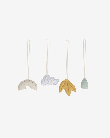 Yamile set of 4 hanging toys made of 100% cotton (GOTS) for teepee play gym