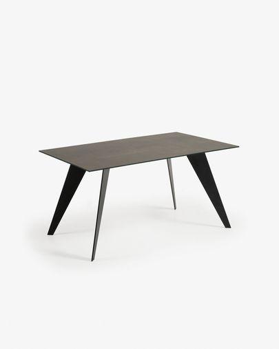 Mesa Koda 160 x 90 cm porcelánico acabado Iron Moss patas de acero acabado negro