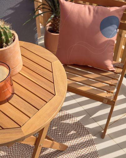 Elisia buitenset van tafel en 2 klapstoelen in massief acaciahout FSC 100%