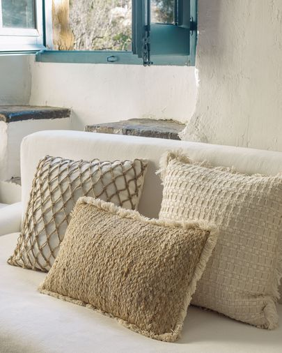 Clidia jute cushion cover with cotton fringe 30 x 50