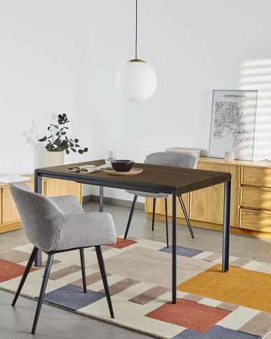 Table extensible Nadyria contreplaqué de noyer pieds acier finition noir 120 (160) x 80 cm