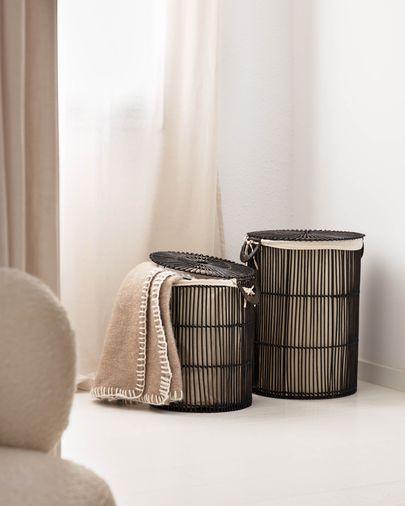 Set Fayna de 2 cestos de ropa 100% ratán con acabado negro
