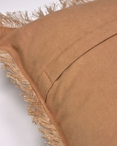 Almira brown cotton and linen cushion cover with fringe 45 x 45 cm