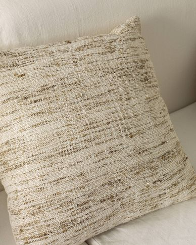 Devi cotton and linen cushion cover with beige and brown stripes 45 x 45 cm
