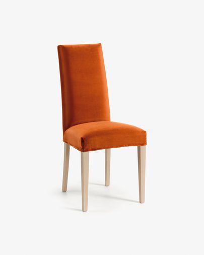 Silla Freda terciopelo naranja y patas de madera maciza de haya acabado natural