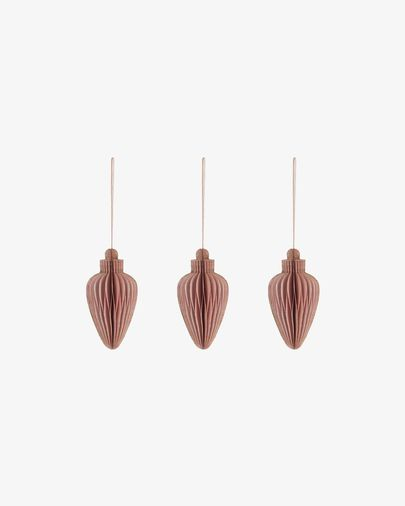 Yaril set of 3 pink Christmas baubles