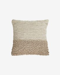 Maday wool and cotton cushion cover in beige 45 x 45 cm