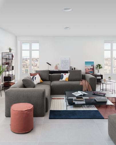 Sofá de canto Blok 4 lugares cinzento 290 x 290 cm