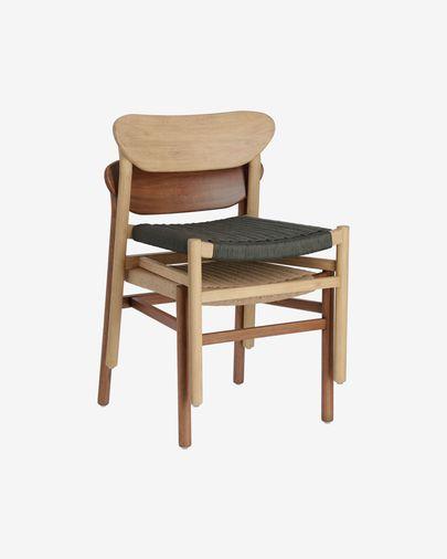 Chaise Galit en bois massif d'eucalyptus finition naturelle et corde verte FSC 100%