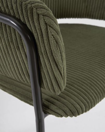 Runnie chair made from thick corduroy in dark green with steel legs with black finish