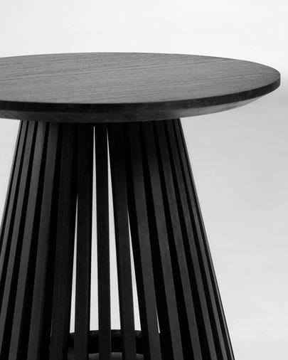 Mesa auxiliar Jeanette madera maciza de mindi negro Ø 50 cm