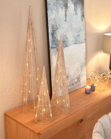 Lichtgevende kerstbomen Marleen set van 3 in goud - 40 cm 60 cm 80 cm