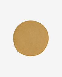 Sora round corduroy chair cushion in mustard, 35 cm