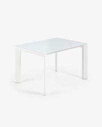 Mesa extensível Axis 120 (180) cm vidro branco pernas branco
