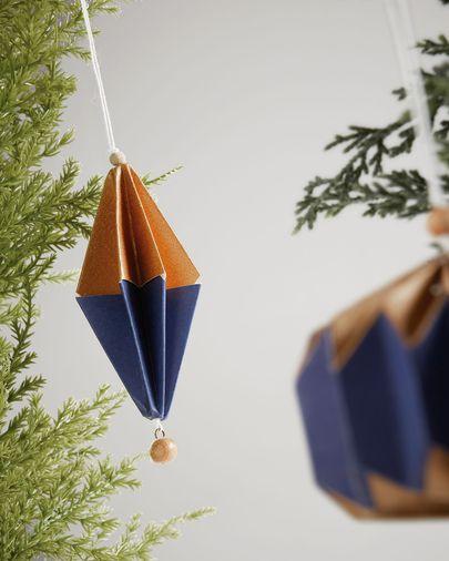 Set Artik di 2 ornamenti decorativi da appendere blu e dorato
