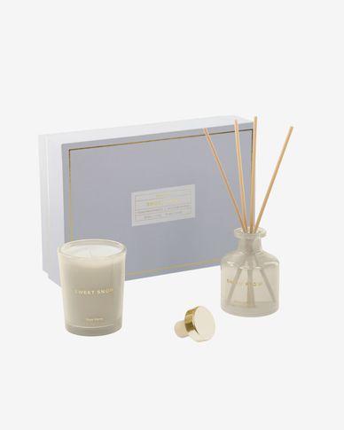 Set geurkaars en geurstokjes Sweet Snow 70 gram en 50 ml