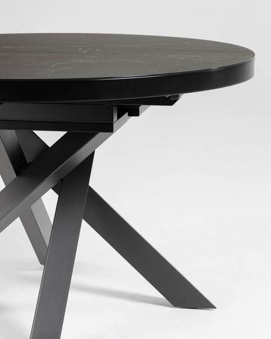 Vashti ausziehbarer runder Tisch Ø 120(160) cm Feinsteinzeugplatte und schwarze Stahlbeine