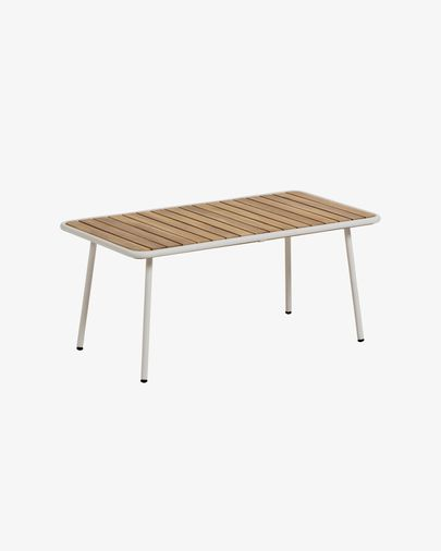 Mesa de centro Robyn 90 x 48 cm madera maciza acacia efecto teca patas acero blanco