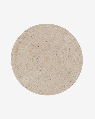 Alfombra redonda Takashi 100% lana gris Ø 150 cm