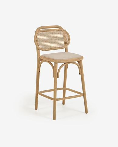 Doriane 65 cm height solid oak stool with natural finish and upholstered seat
