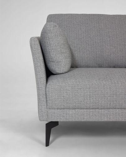 Gilma sofa 3-osobowa z szezlongiem z prawej szary nogi czarne metalowe 260 cm