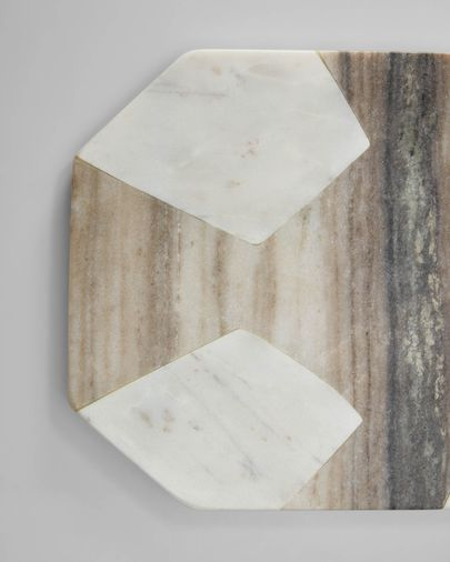 Vanina round serving board in grey and white marble