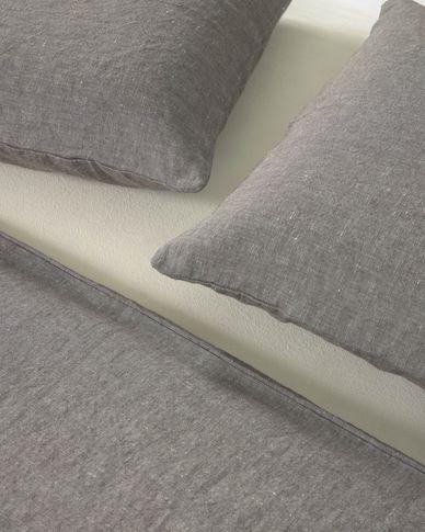 Set Eglant funda nórdica, bajera y funda almohada de algodón GOTS y lino gris 180 x 200 cm
