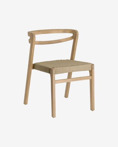 Ezilda chair made from solid eucalyptus wood and beige cord