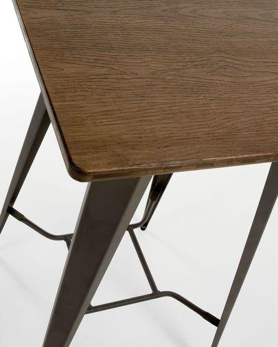 Mesa Malira acero y madera maciza de bambú 60 x 60 cm