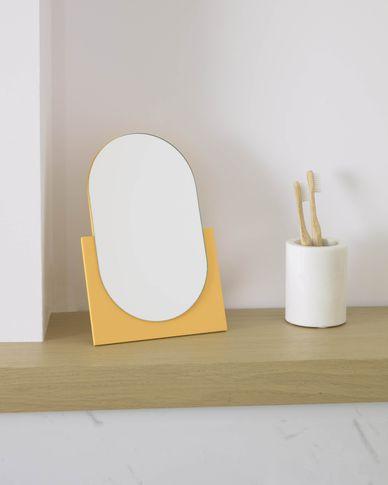 Mica spiegel mosterdgeel 17 x 25 cm
