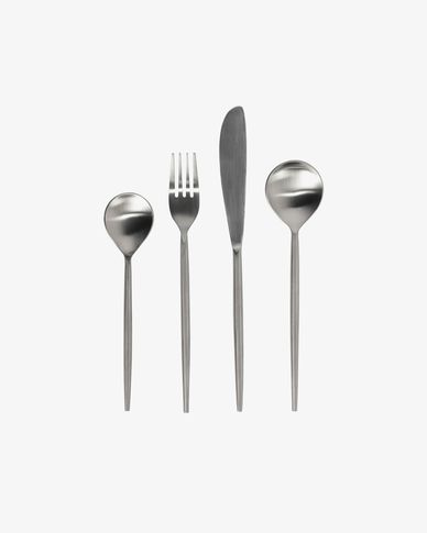 Crisps rounded handle 16-piece silvery cutlery set