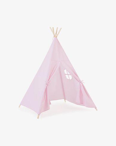 Namiot Teepee Darlyn 100% bawełna różowy i nogi z litego drewna sosnowego