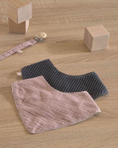 Lot Marinet de 2 bandanas 100% coton bio (GOTS) rose et bleu