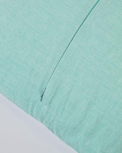 Funda cojín Eirenne de algodón y lino turquesa 45 x 45 cm