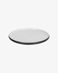 Sadashi flat porcelain plate in black and white