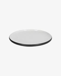 Piatto piano Sadashi in porcellana bianca e nera