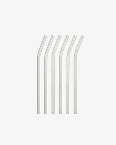 Gillia set of 6 clear glass reusable straws