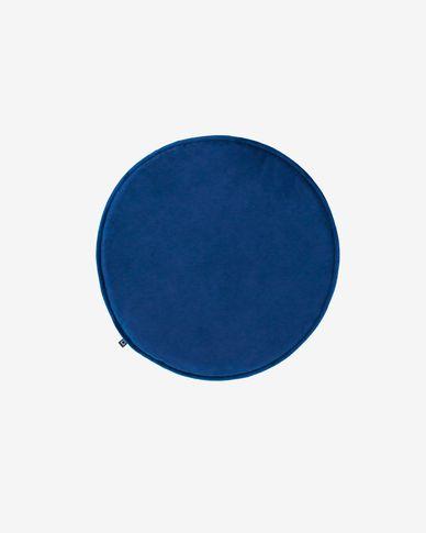 Rimca round velvet chair cushion in blue, 35 cm
