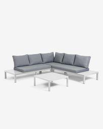 5-zits modulaire hoekbank en Duka tafel in wit aluminium