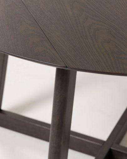 Mesa extensible redonda Maryse 70 (120) x 75 cm chapa de fresno patas madera maciza caucho