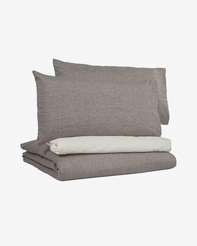 Set Eglant funda nórdica, bajera y funda almohada de algodón GOTS y lino gris 145 x 190 cm