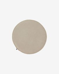 Sora round corduroy chair cushion in taupe, 35 cm