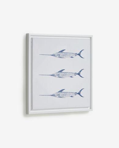 Quadre Lavinia 3 peixos espasa blau 30 x 40 cm