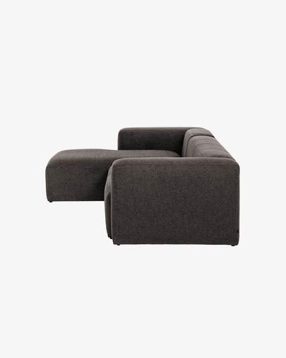 Canapé d'angle Blok 3 places fixe gauche gris 330 cm