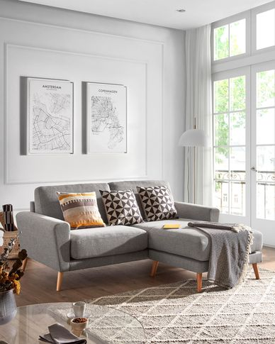 Narnia 3-seater sofa with chaise longue in light grey 192 cm