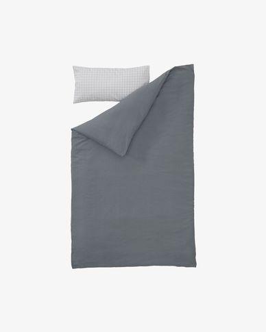 Komplet Alay prześcieradło poszewka na kołdrę i poduszkę bawełna GOTS kratka 90 x 190 cm