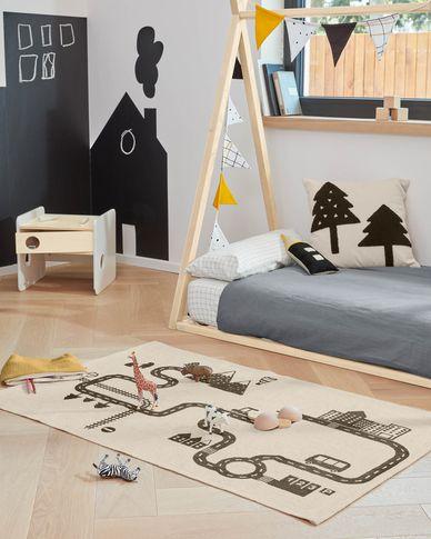 Nisi 100% organic cotton (GOTS) rug in beige and black 75 x 120 cm